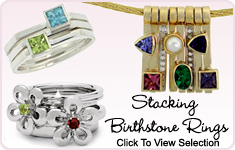 Offering a variety of stacking birthstone rings.